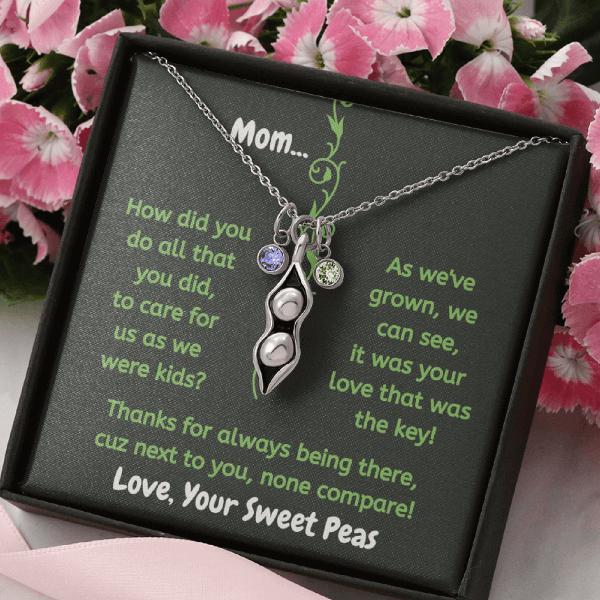Mom Peas In A Pod Birthstone Necklace