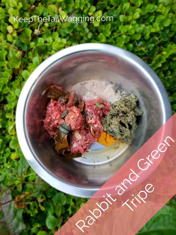 Rabbit and Green Tripe Raw Dog Food Recipe