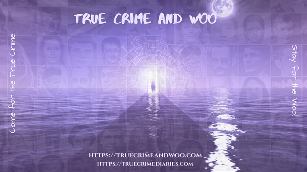 true crime and woo, purple background