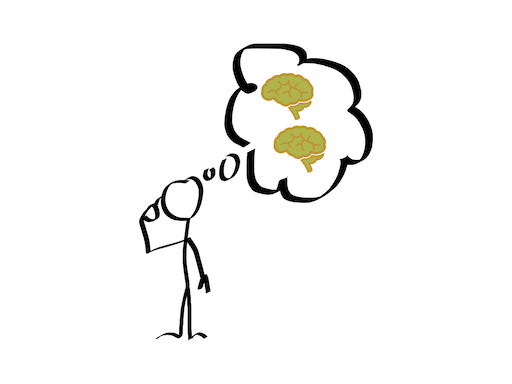 Stick man thinking about having two brains