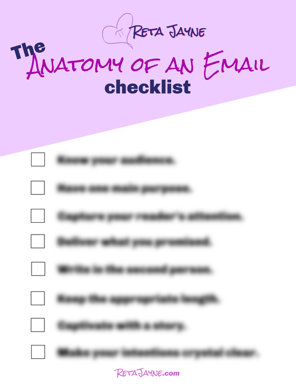 Anatomy of an Email checklist