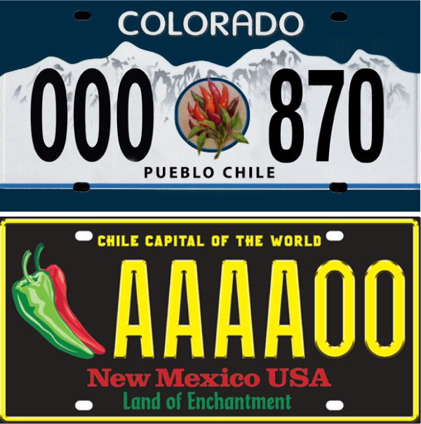 The competing chile license plates