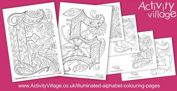 This week's illuminated alphabet colouring pages - F and S