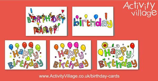 5 bright new birthday cards to print