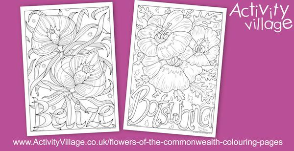 New national flower colouring pages for Belize and Botswana