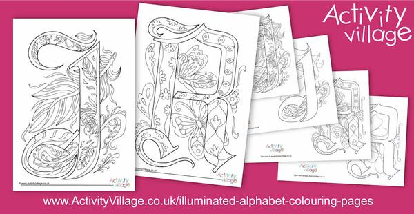 New this week, the letters J and R have been added to our set of Illuminated Alphabet Colouring Pages
