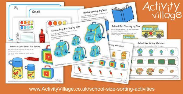 School themed size sorting activities