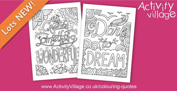 "More in our ""colouring quotes"" series - Create something wonderful and Dare to dream"