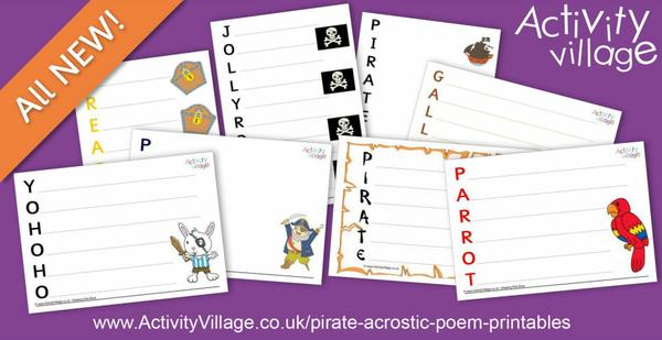 Inspire pirate themed acrostics or other writing projects with these fun printables