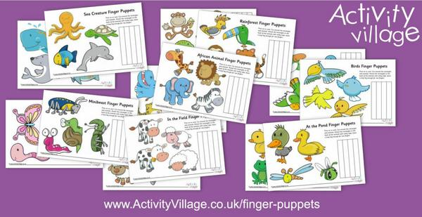 So many new finger puppet printables - perfect for using with our new backdrops!