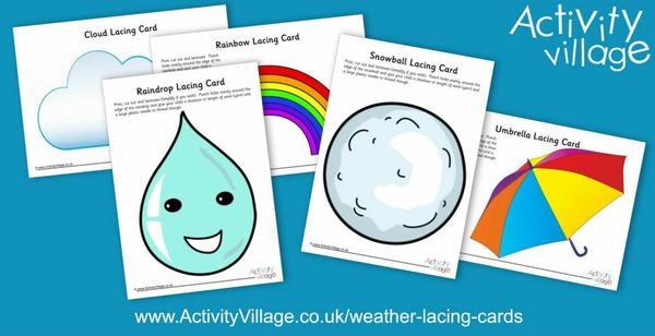 Work on fine motor skills with the help of these fun new weather lacing cards