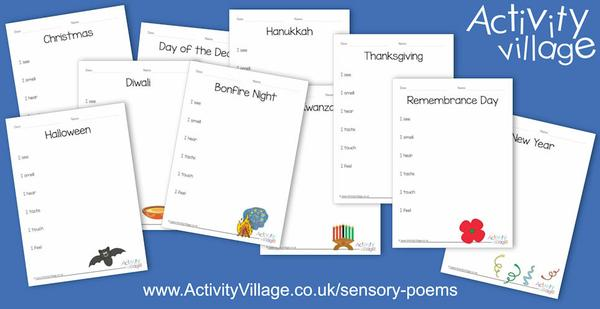 Sensory poem planning sheets for autumn and winter holidays