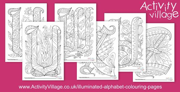 Our illuminated alphabet colouring pages and cards are now complete