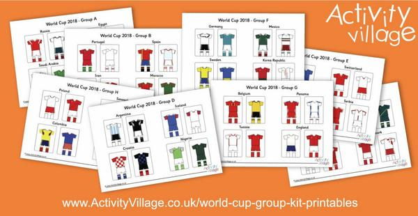 New World Cup group kit printables - Home and Away for 32 countries