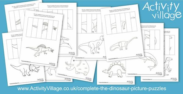New complete the dinosaur picture puzzles