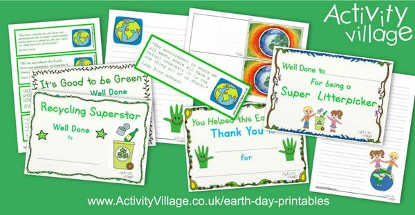 New bookmarks, certificates and other Earth Day printables
