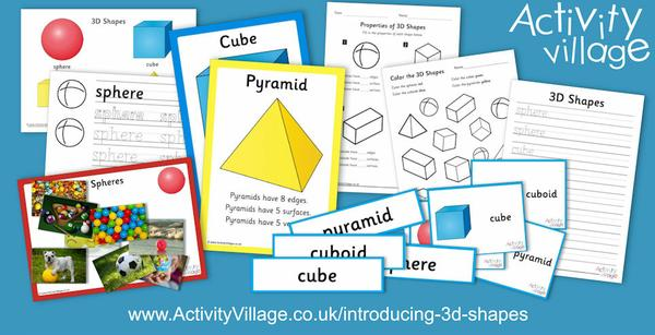Introducing 3D shapes - sphere, cube, cuboid and pyramid