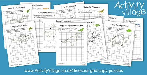 New dinosaur grid copy puzzles