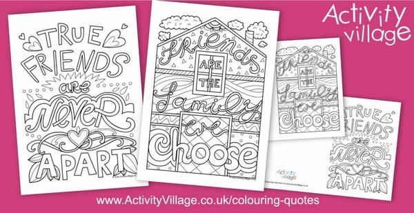 Two new colouring quotes about friends