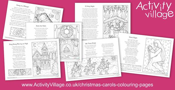 Beautiful new Christmas carol colouring pages