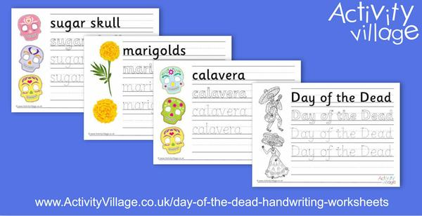 4 new Day of the Dead handwriting worksheets