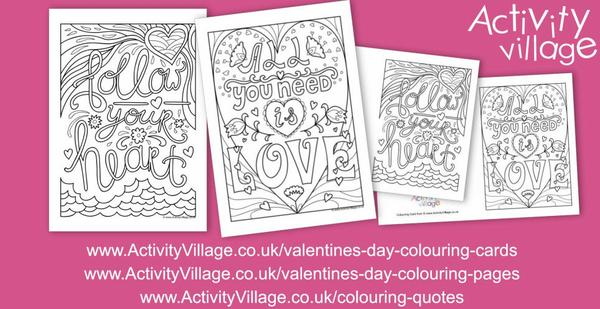 Our colouring quotes this week have a Valentine's Day theme