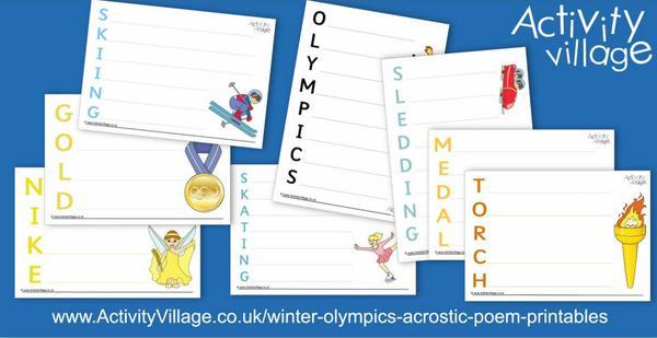 New Winter Olympics acrostic poem printables