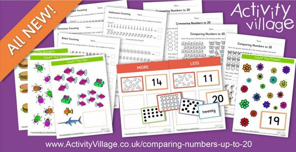 New activities for comparing numbers up to 20