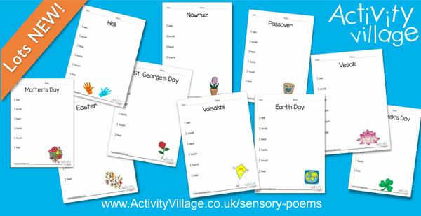 Spring holidays sensory poem planners