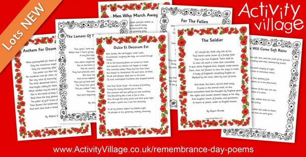 Adding to our war poetry printables for Remembrance Day