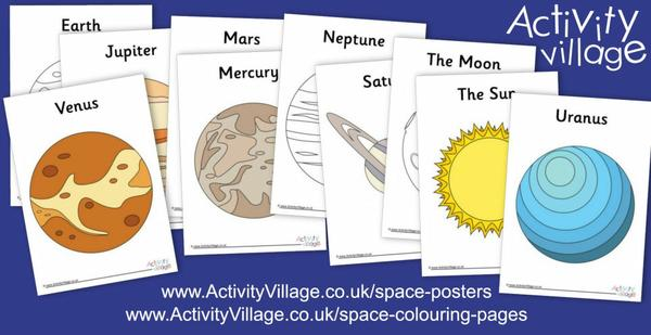 Enjoy these big and bold colouring pages and posters of the planets