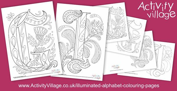 Two new letters for our Illuminated Alphabet Colouring Pages series - G and I