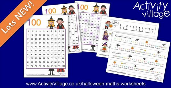 Fun new number lines and hundred squares for Halloween