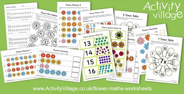 New flower maths worksheets and maths activities aimed at your younger children and working on counting, ordering, patterns and times tables.​​​​​​​