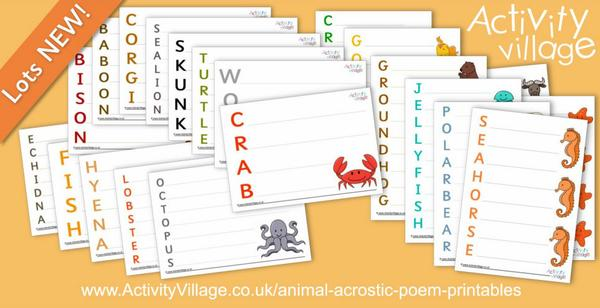 Adding to our collection of animal acrostic poem printables