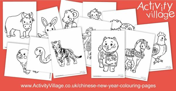 Topping up our Chinese New Year colouring pages with these lovely Chinese zodiac animals!