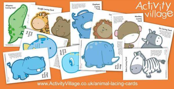New animal lacing cards for younger children