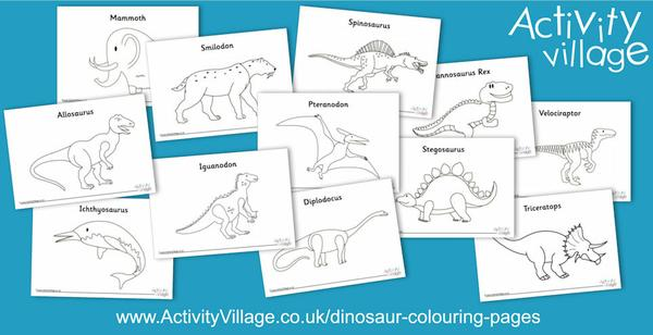 New dinosaur colouring pages
