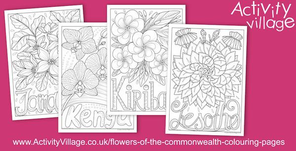 4 new flowers of the Commonwealth colouring pages