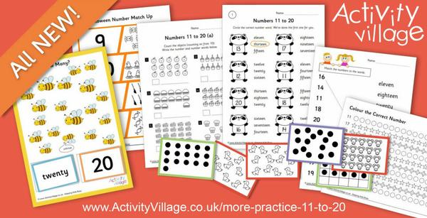 More practice for numbers 11 to 20