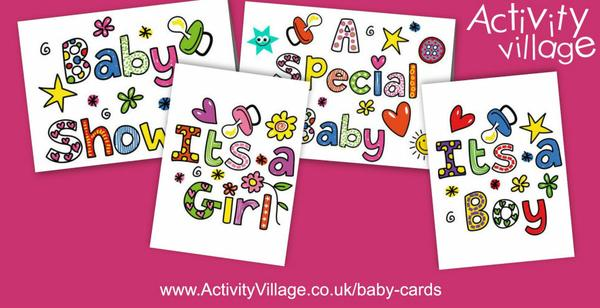 and four pretty new baby cards and posters