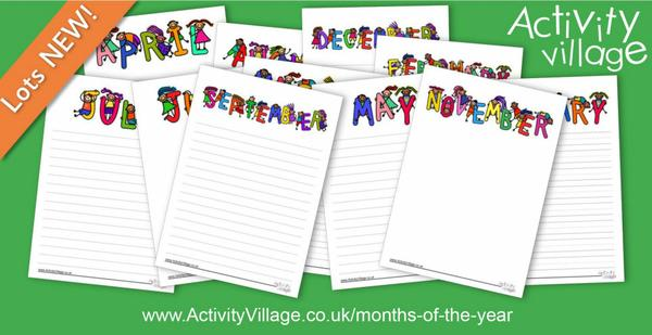 Fun new writing paper in three variations for each month of the year