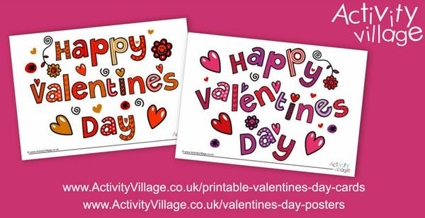 2 cheerful new designs of Valentine's Day posters and cards