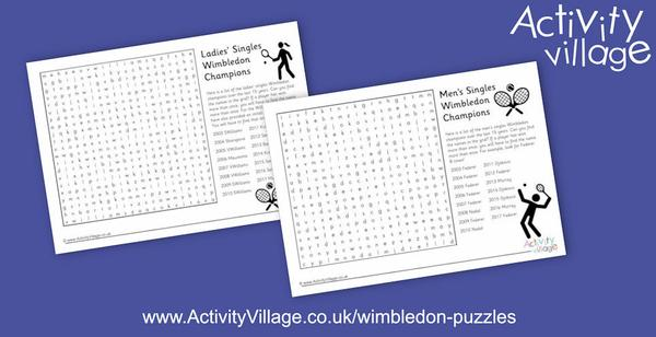 Word searches of Wimbledon singles champions over the last 15 years