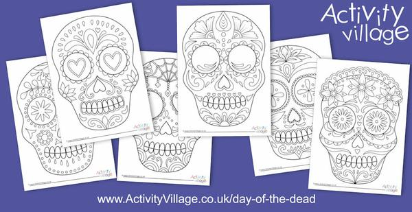 Fun new Day of the Dead calavera colouring pages