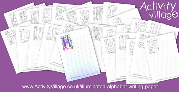 New illuminated alphabet writing paper