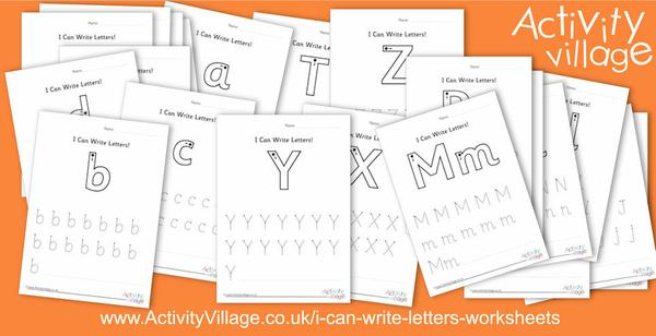 "We have three new sets of these ""I Can Write Letters"" worksheets."