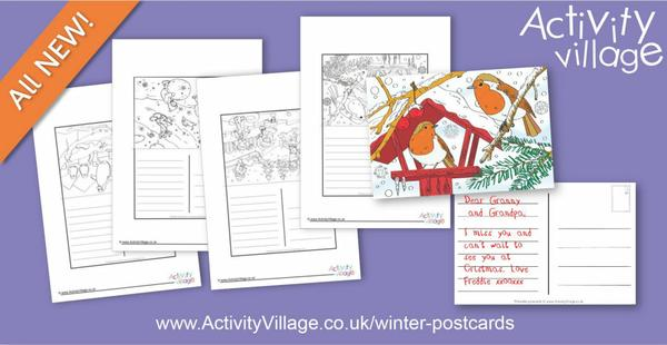 New winter postcards to colour and send!