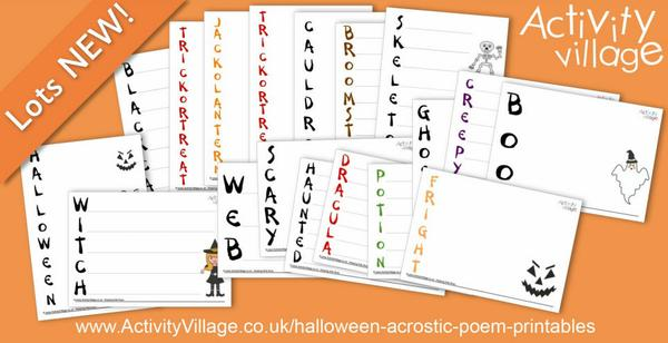 Adding to our collection of Halloween acrostic poem printables