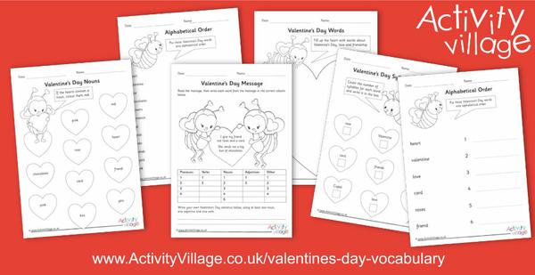 New worksheets for Valentine's Day